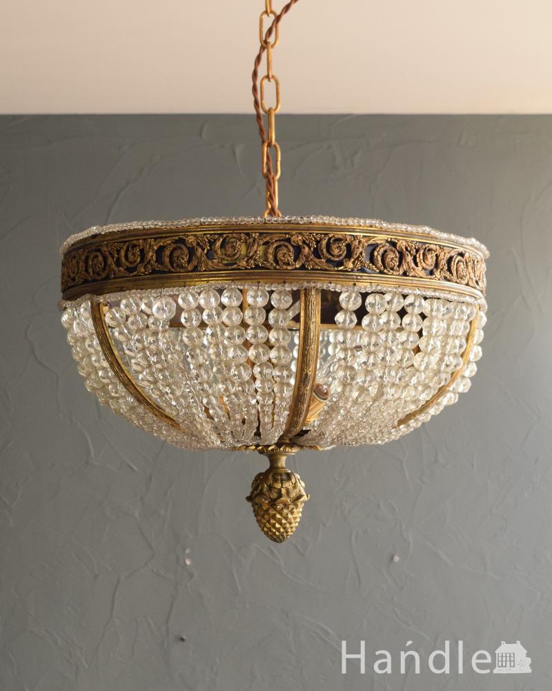 フランスで見つけた豪華なアンティークシャンデリア (3灯)(E17シャンデリア球付) (h-894-z)