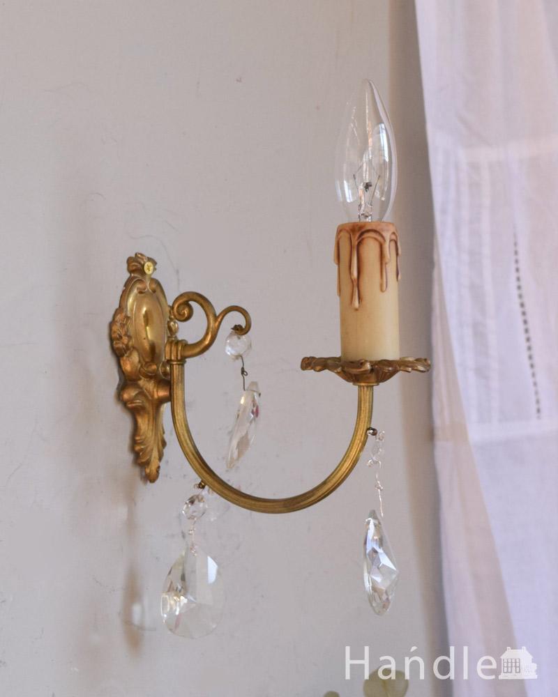 フランスアンティーク照明、ガラスドロップ付きのウォールシャンデリア(E17シャンデリア球付) (x-783-z)