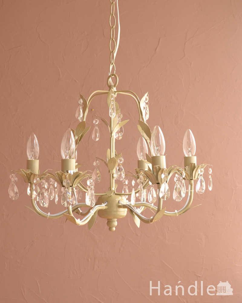 手軽に使えるアクリルガラスがキレイなアンティーク風シャンデリア(6灯)(E12電球付)  (cr-500)