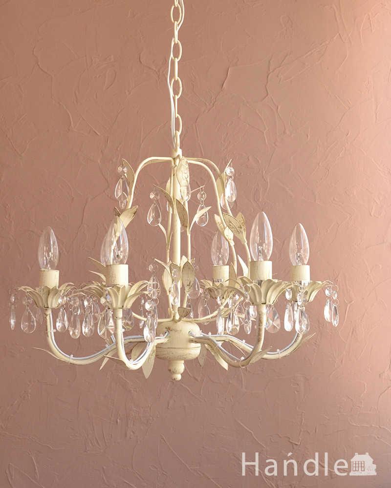 手軽に使えるアクリルガラスがキレイなアンティーク風シャンデリア(6灯)(E12電球付) (cr-501)