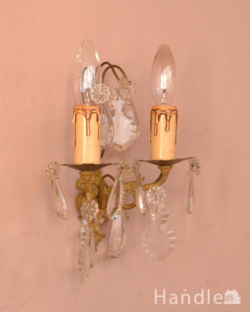 フランスアンティークのガラスパーツが優雅なウォールシャンデリア(E17シャンデリア球付) (d-1393-z)
