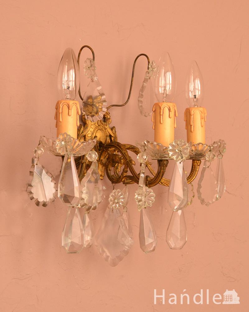 華やかなアンティーク照明、フランス生まれの壁付けシャンデリア(3灯)(E17シャンデリア球付) (x-695-z)