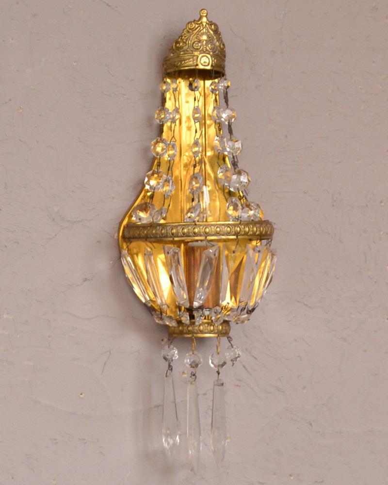 フランスのアンティーク照明、ガラスが輝く壁付けシャンデリア(E17シャンデリア球付) (d-1433-z)