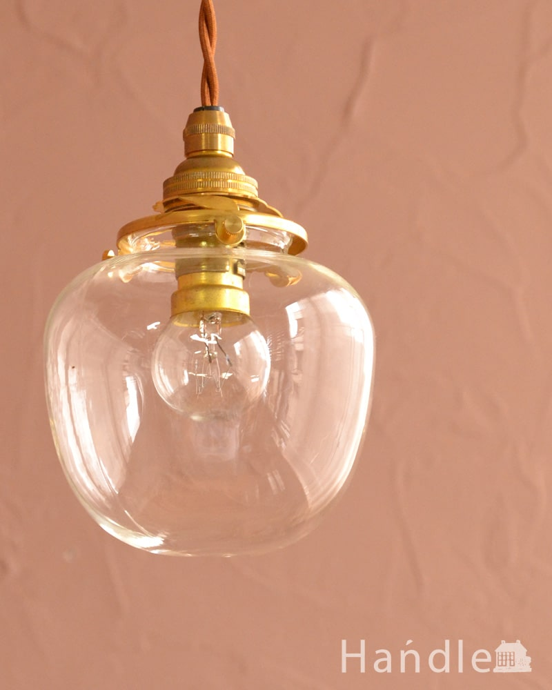 リンゴの形をしたガラスのペンダントライト(コード・丸球・ギャラリーA付き・クリア) (pl-290)