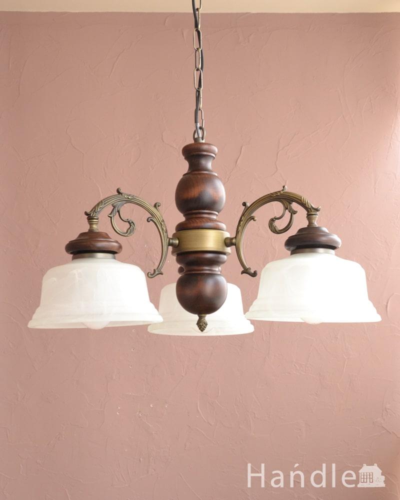 アンティーク調の木製シャンデリア(3灯・電球セット)  (cr-540)