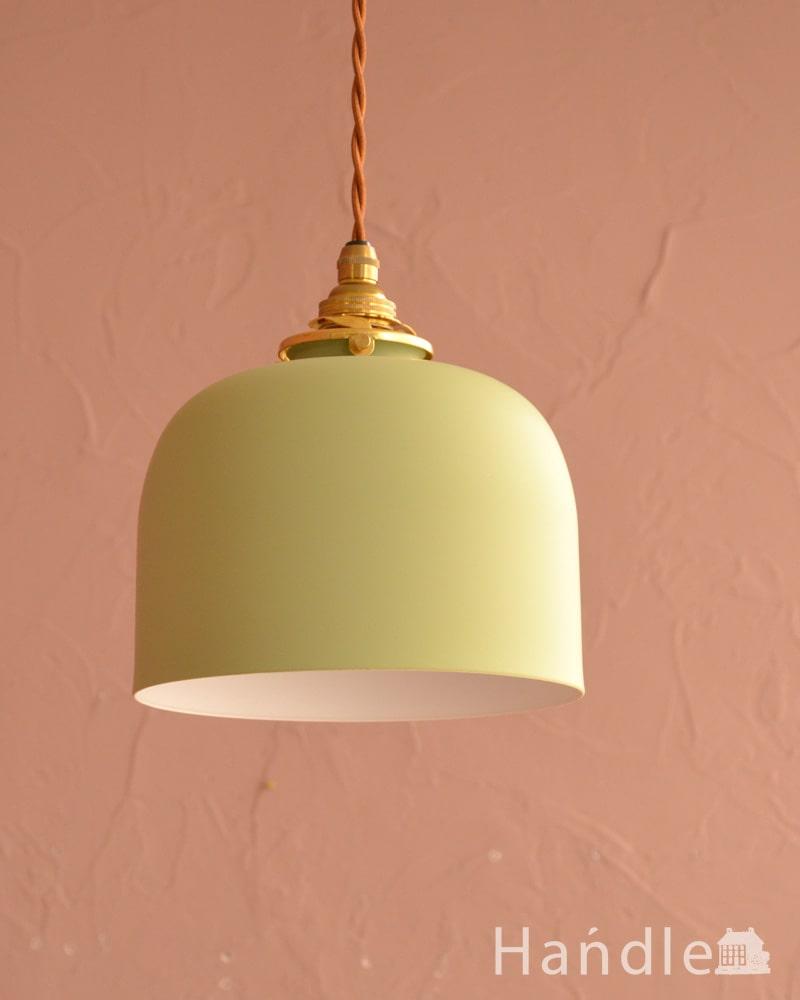 ドームの形が印象的なアイアンシェードのペンダントライト・グリーン(コード・シャンデリア電球・ギャラリーA付き) (pl-301)