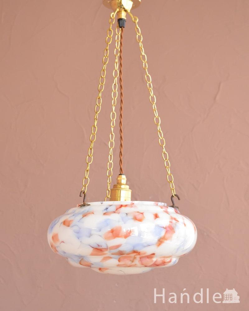 イギリスのアンティーク照明、 ガラスの模様がキレイなハンギングランプ(E26球付き) (k-4184-z)