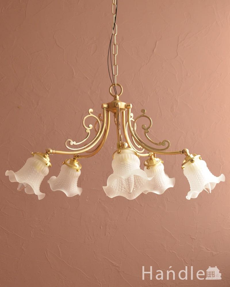 アンティーク調のシャンデリア、2通りの使い方が出来る美しい照明(5灯・電球なし) (cr-548-g)