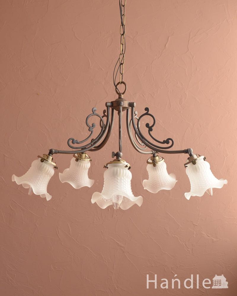 アンティーク調のシャンデリア、2通りの使い方が出来る美しい照明(アンティーク色・5灯・電球なし) (cr-548-a)