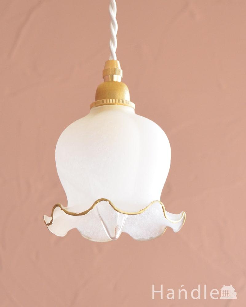 すずらんのお花の形をした可愛いガラスのペンダントライトセット(コード付き・E17シャンデリア球・ギャラリーなし) (pl-308)