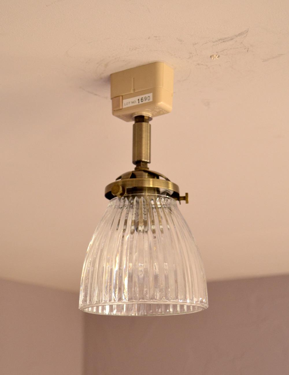 ストライプガラスのアンティーク風シーリングライト(電球セット) (pl-126)