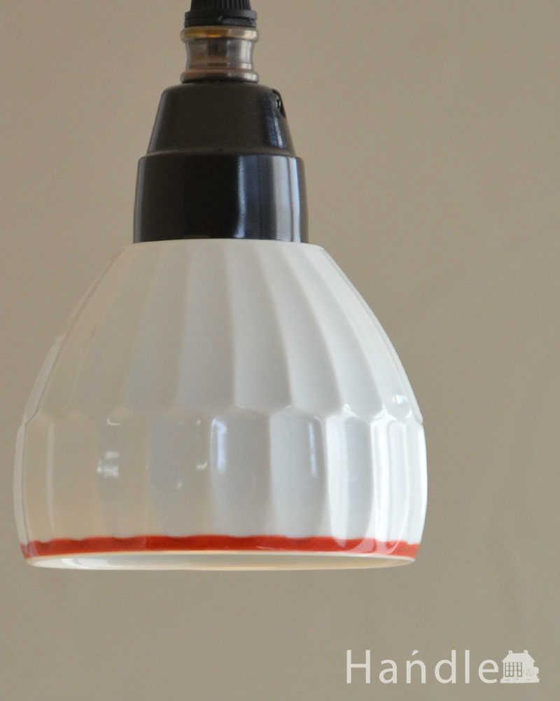 可愛い磁器製(ライン)シェードのペンダントライト(50cmコード・E26球・ギャラリーなし) (pl-182)