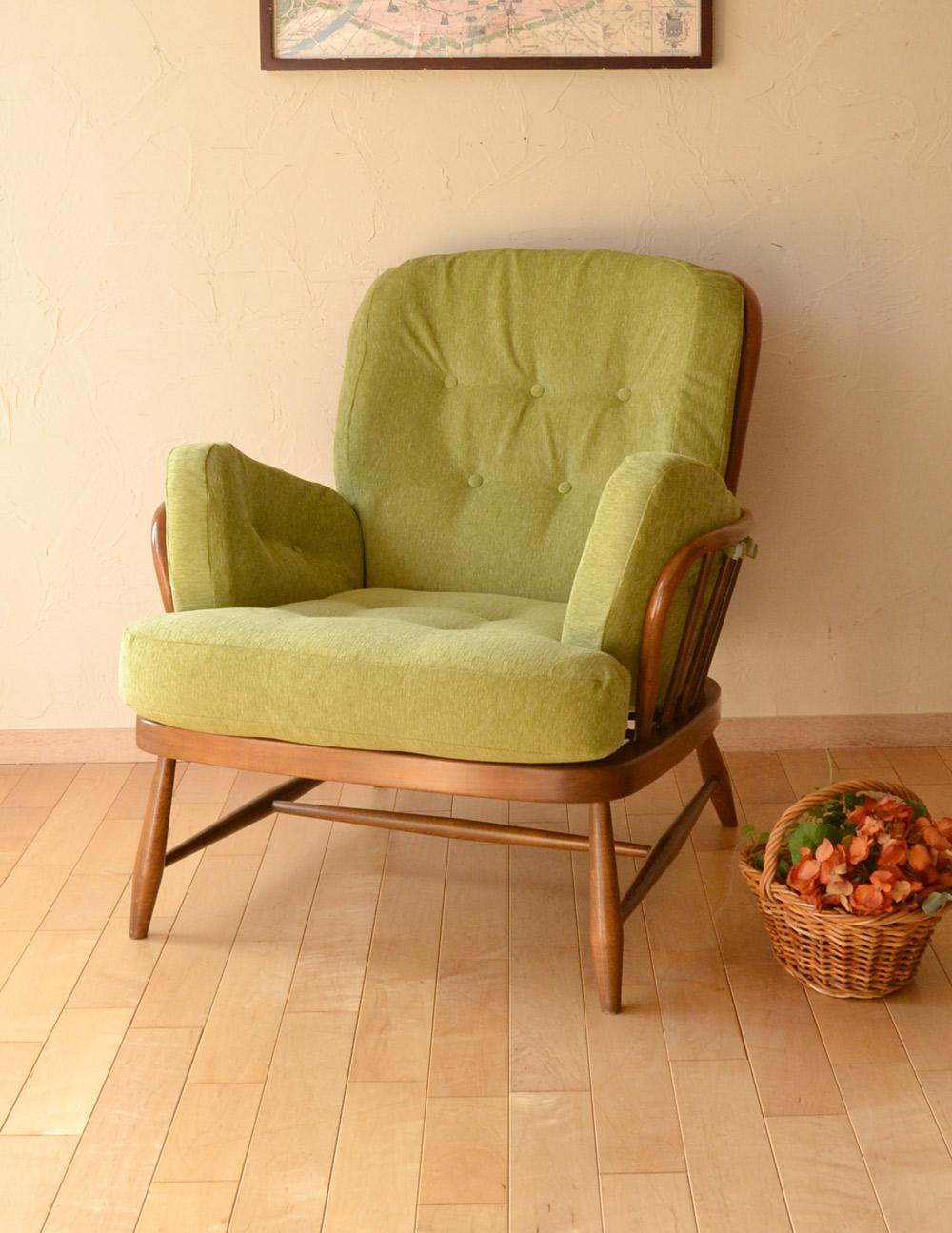 イギリスのアーコール社、アンティークソファ、1人掛けのラウンジチェア(グリーン)(x-413-c)|アンティークチェア・椅子