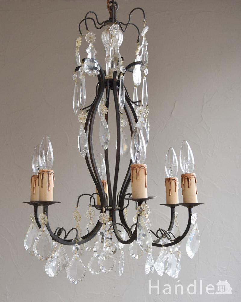ガラスコラムが付いたゴージャスな照明、フランスアンティークのシャンデリア(6灯)(E17シャンデリア球付) (x-726-z)