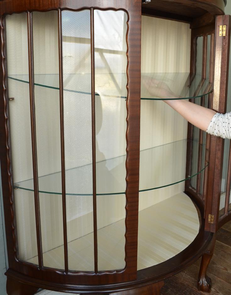 j-1192-f アンティークガラスキャビネットの棚板