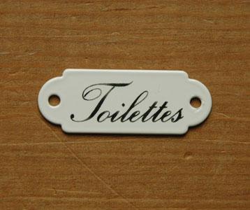 洗面・トイレ 住宅用パーツ ホウロウ製の小さくて可愛い トイレットプレート (トワレ・ミニ)。オシャレな小物を使うと、一気に垢抜けます。(sa-012)