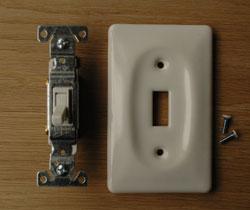 スイッチ・スイッチカバー 住宅用パーツ 陶器のお洒落な電気スイッチ(シングルスイッチ)。壁からの配線になるので、電気屋さんによる取り付け工事が必要です。(sw-03)