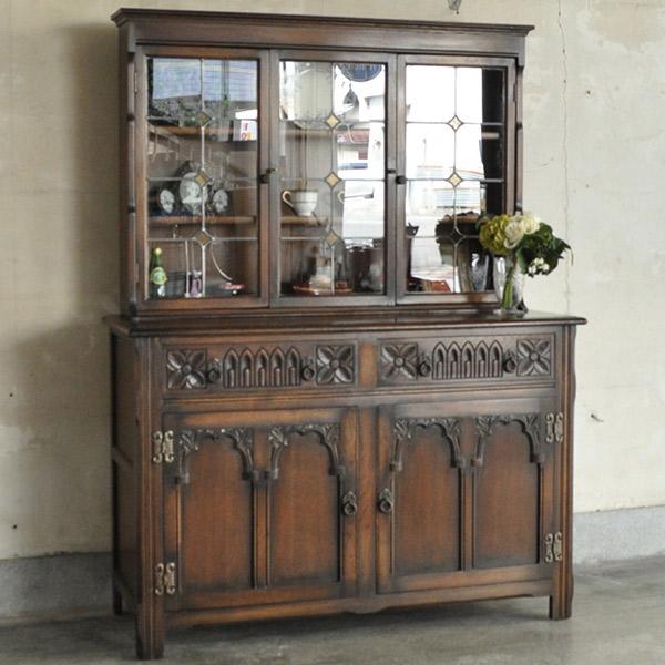 英国アンティークスタイルのアンティークの食器棚